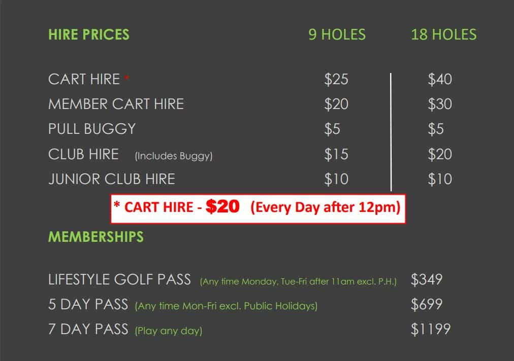 Cart Hire Prices